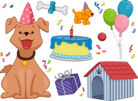 Illustration Featuring a Dog Surrounded by Different Birthday-Related Objects Vector