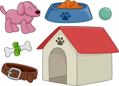 Ilustración con diferentes elementos típicamente asociados con Perros