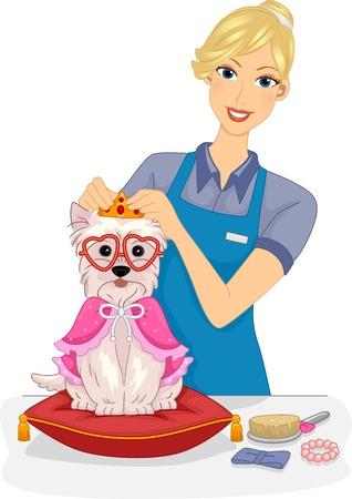 groomer: Illustration of a Female Dog Salon Attendant Giving a Dog a Makeover