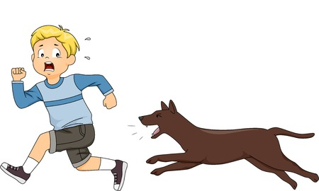 scared: Illustration of a Little Boy Being Chased by a Dog