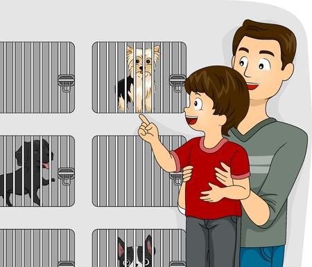 Illustration d'un père prenant son enfant à une animalerie pour voir les chiens Banque d'images - 30121584