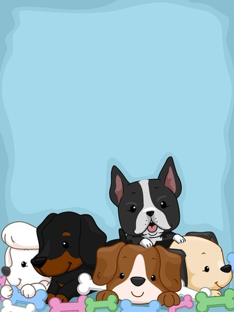 chew: Background Illustration Featuring Cute and Adorable Puppies Lying on a Pile of Chew Toys