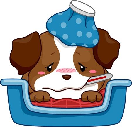 Ilustración de un cachorro enfermo con fiebre