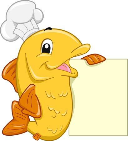 Mascot Illustration Featuring a Fish Wearing a Toque Leaning Against a Blank Menu Board Vector