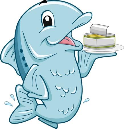 Mascot Ilustración que ofrece un pescado que lleva una lata de sardinas Foto de archivo - 30121607