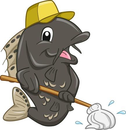 janitor: Mascot Illustration of a Janitor Fish Mopping the Floor