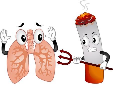 Mascot Illustratie Met een Evil Sigaret Wijzend een Pitchfork in een Scared Longen Mascot Stock Illustratie