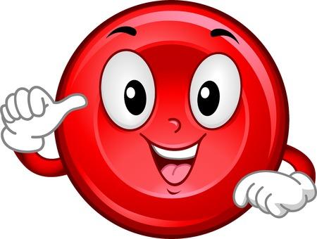globulo rojo: Mascot Ilustración que ofrece un glóbulo rojo sonriente