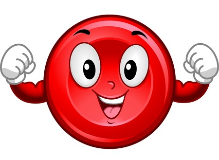 hematology: Mascot Illustration Featuring a Red Blood Cell Flexing its Muscles