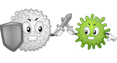 inmunidad: Ilustración Mascota Con una célula de sangre blanca y un antígeno peleando Vectores