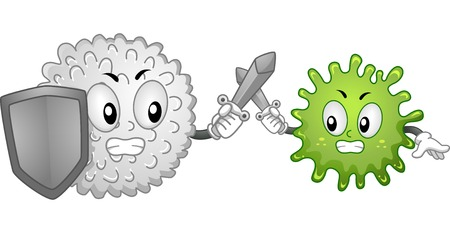 arts system: Mascot Illustration Featuring a White Blood Cell and an Antigen Fighting it Out