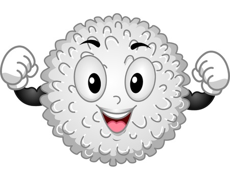 immunity: Mascot Illustration Featuring a White Blood Cell Flexing its Muscles