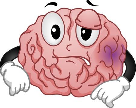 Mascot Illustration Featuring a Brain Sporting a Purplish Bruise  イラスト・ベクター素材