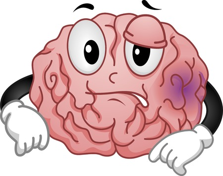 Mascot Illustration Featuring a Brain Sporting a Purplish Bruise Illustration