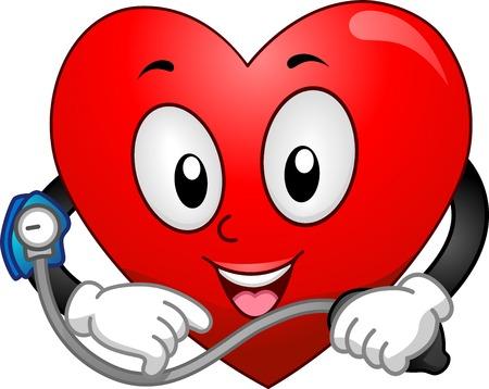 vital signs: Mascot Ilustraci�n que ofrece un coraz�n Tomando Su Presi�n Arterial Vectores