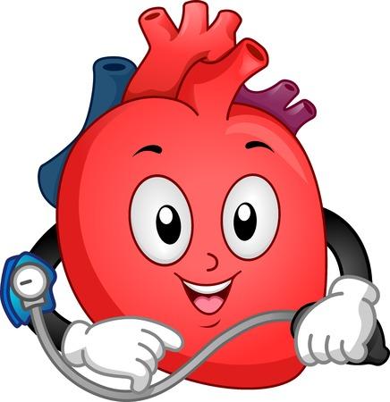 vital signs: Ilustraci�n Mascota Con un coraz�n Tomando su presi�n arterial
