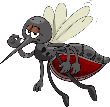 bloated: Mascot Illustration Featuring a Satisfied Mosquito Sporting a Bloated Tummy