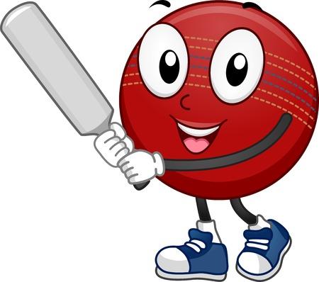 pelota caricatura: Ilustraci�n Mascota Con una bola de grillo que sostiene un bate de cricket