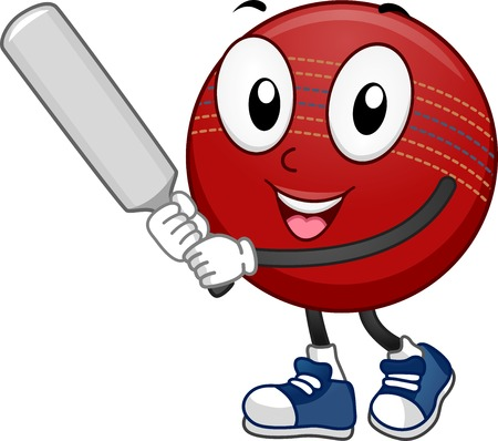 cartoon ball: Mascot Illustration Featuring a Cricket Ball Holding a Cricket Bat