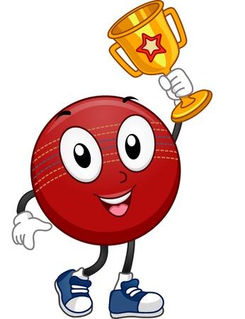 cricket ball: Mascot Illustration Featuring a Cricket Ball Holding a Golden Trophy