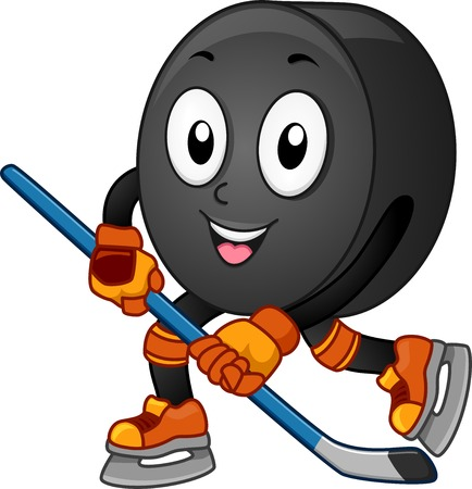 anthropomorphic: Mascot Illustration Featuring an Ice Hockey Puck Gliding Across the Floor Illustration