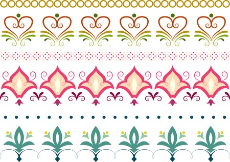 Border Illustration Featuring Different Floral Designs 向量圖像