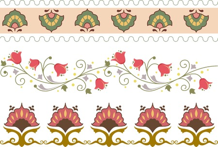 Border Illustration Featuring Different Floral Designs Vector