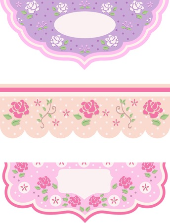 Illustration Featuring Borders with a Shabby Chic Theme Vector
