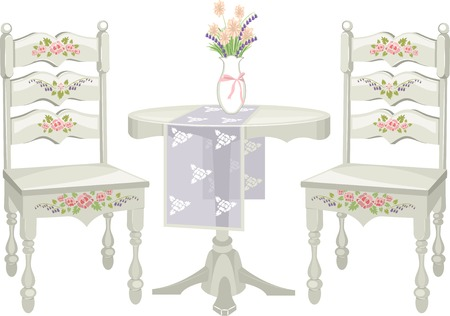 Illustration of a Chair and Table Set with a Shabby Chic Design Ilustração