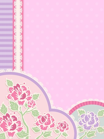 margins: IIlustration Featuring Frilly Corner Borders with a Shabby Chic Design