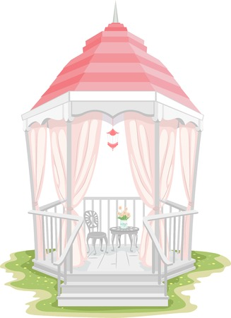 summerhouse: Illustration of a Gazebo with a Shabby Chic Design
