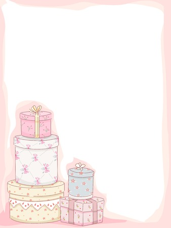 margins: Frame Illustration Featuring Stacks of Gift Boxes with a Shabby Chic Design