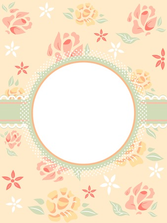 feminine: Illustration Featuring a Frame with a Shabby Chic Design