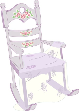 Illustration of a Rocking Chair with a Shabby Chic Design