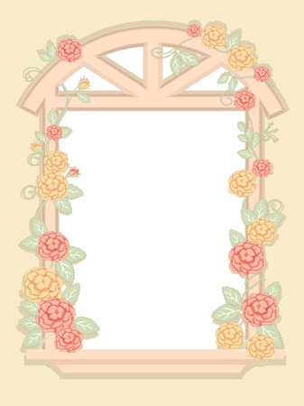 Illustration of a Window Frame with a Shabby Chic Design