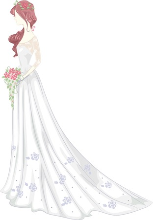bridal gown: Illustration of a Bride Wearing a Bridal Gown with a Shabby Chic Design