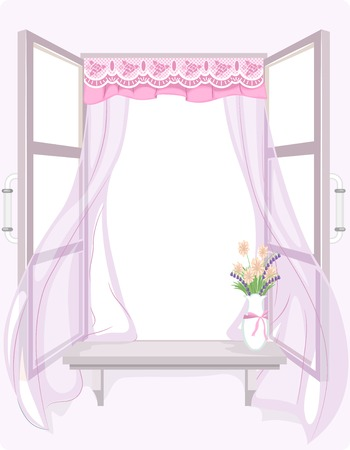 breezy: Illustration of a Curtain with a Shabby Chic Design Fluttering in the Wind