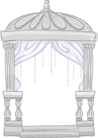 wedding tent: Illustration Featuring a Cute Wedding Tent