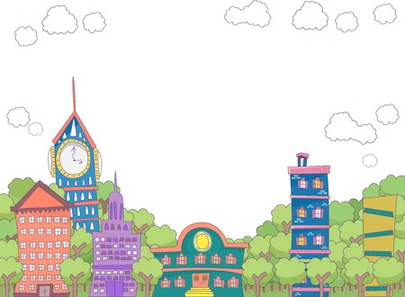 eclectic: Illustration Featuring Eclectic Buildings Surorunded by Trees Illustration