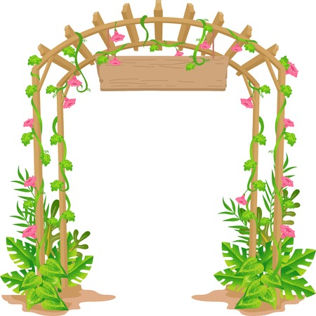 Illustration of a Trellis That Acts as a Welcome Arch