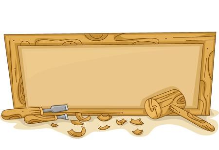 Illustration d'un cadre en bois vide avec Outils à bois