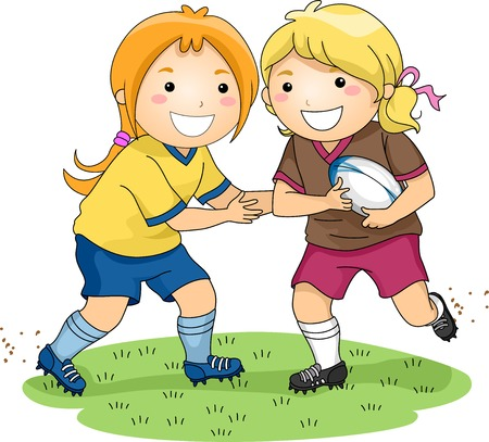 Illustration of a Pair of Girls Playing Rugby Illustration