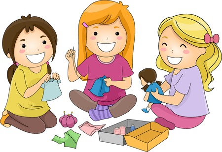 Illustration of a Group of Girls Sewing Clothes for Their Dolls Vector