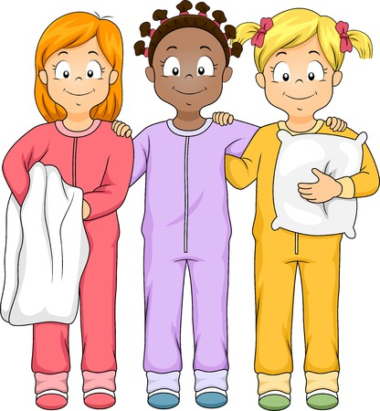 sleepover: Illustration of a Group of Girls Wearing nightwear Illustration