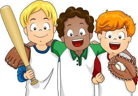 야구를 플레이하는 소년의 그룹이 준비 특징 그림