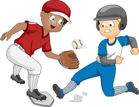 Illustratie Met Proberen om het honk te bereiken voordat de andere vangt de bal een Jongen Stock Illustratie