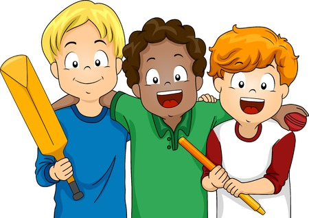 Illustration Featuring a Group of Boys Ready to Play Cricket Stock Illustratie
