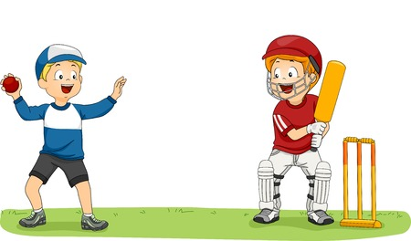 little league: Illustration Featuring Two Little Boys Practicing for the Cricket League