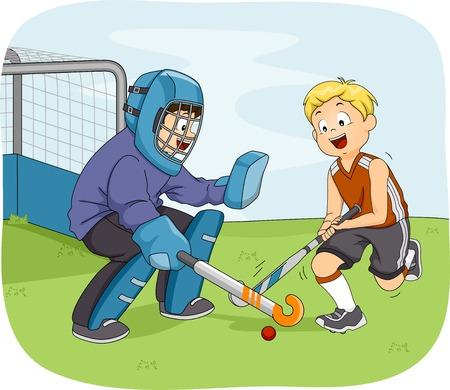 hockey sobre cesped: Ilustración con niños pequeños que juegan hockey hierba Vectores