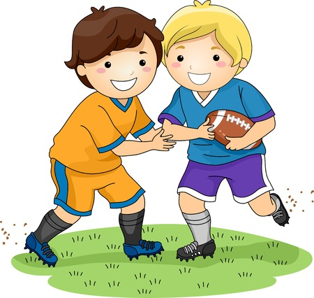 football tackle: Illustration Featuring Little Boys Playing Football Illustration
